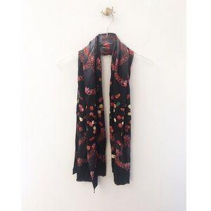 pierre cardin / black red hem jewel floral scarf